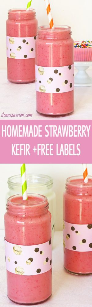 Better than a store-bought strawberry kefir recipe made with sweet strawberries and buttermilk. Sweet and tangy strawberry kefir + Free Printable labels by ilonaspassion.com I @ilonaspassion
