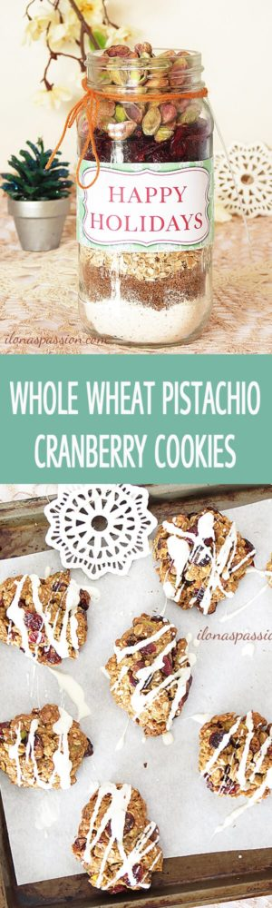 Sweet and crunchy Whole Wheat Pistachio Cranberry Cookies by ilonaspassion.com I @ilonaspassion