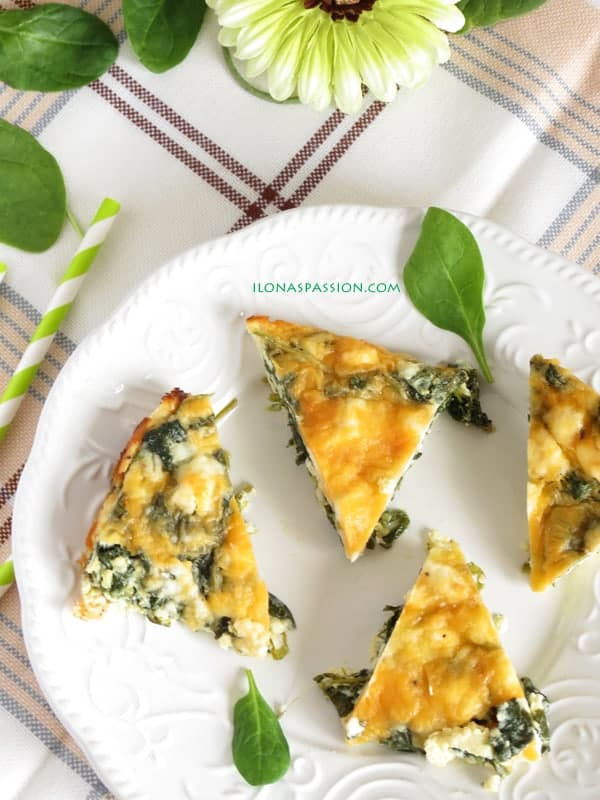 Healthy Feta Spinach Quiche by ilonaspassion.com