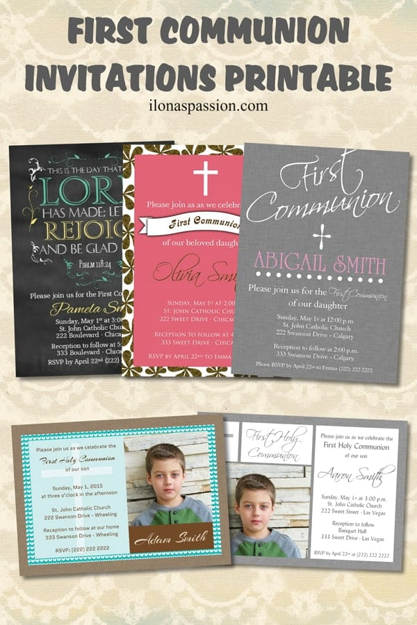 Beautiful Printable First Holy Communion Invitations for your next celebration by ilonaspassion.com I @ilonaspassion