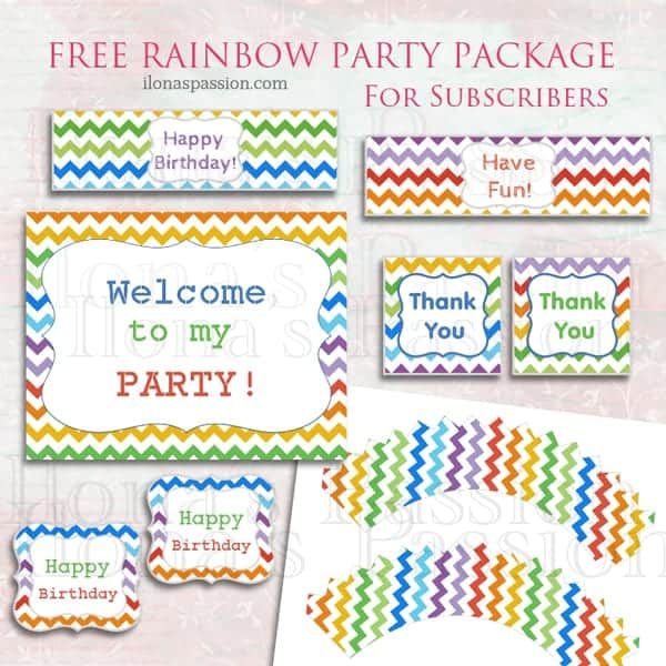 Free Rainbow Printable Party Package by ilonaspassion.com