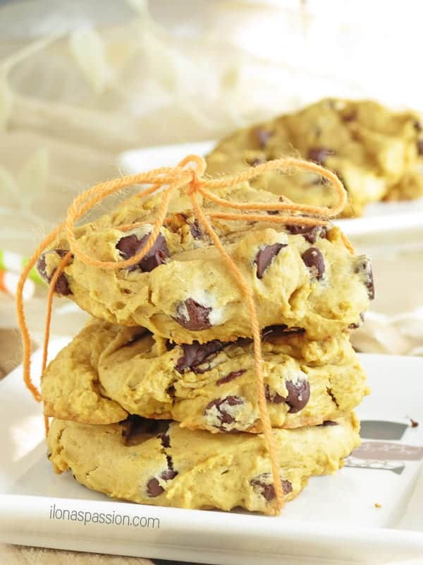 Soft Chocolate Chip Pumpkin Cookies by ilonaspassion.com #pumpkincookies #cookies #pumpkin #chocolatechip