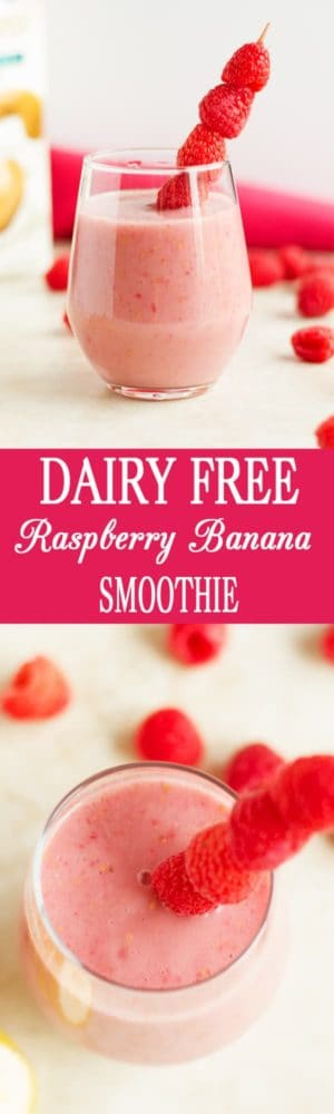 Dairy Free Healthy Raspberry Banana Smoothie - Dairy free healthy raspberry banana smoothie made with only 3 real food ingredients. Great for breakfast or snack. Yummy, delicious and satisfying! Vegetarian, vegan, clean eating by ilonaspassion.com I @ilonaspassion