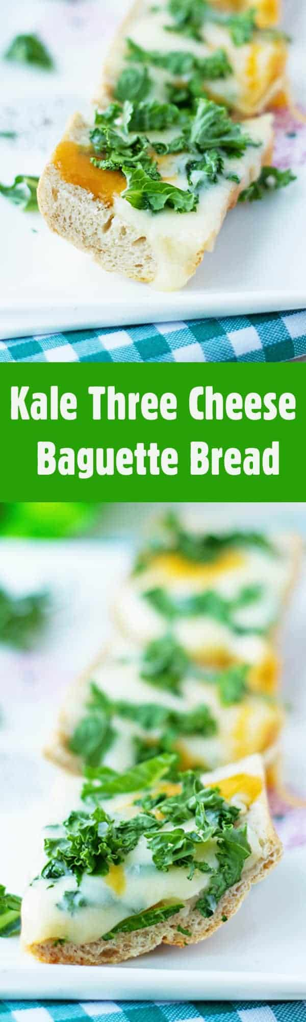 Kale Three Cheese Baguette Bread - Cheese baguette bread recipe stuffed with 3 kinds of cheese (cheddar, parmesan, mozzarella) and kale. An easy appetizer for holiday or any family and friends gathering! Let's Party! by ilonaspassion.com I @ilonaspassion