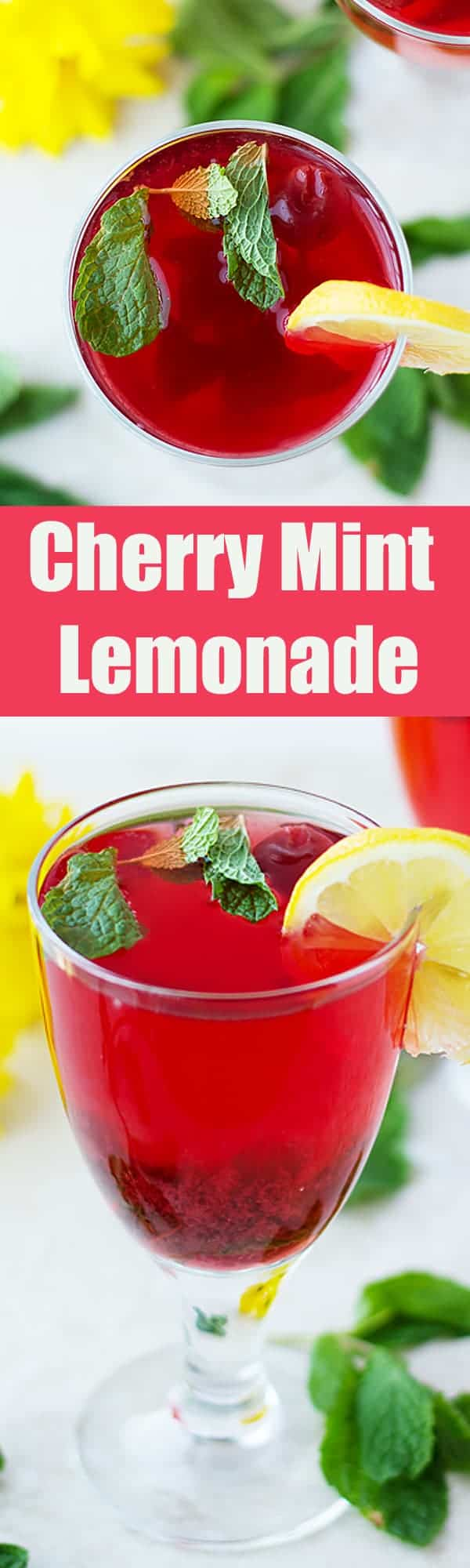 Cherry Mint Lemonade - non-alcoholic easy to make homemade lemonade with frozen cherries and fresh mint herb. Very refreshing drink recipe by ilonaspassion.com I @ilonaspassion