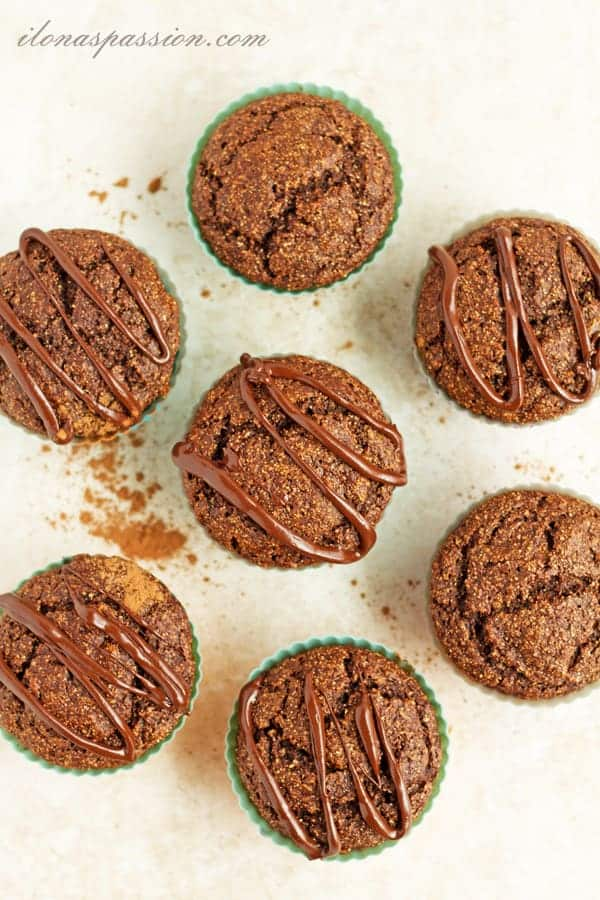 Banana Chocolate Spelt Flour Muffins - Healthy and moist banana chocolate spelt flour muffins made with greek yogurt, cacao and apple sauce. No oil in these yummy chocolate muffins! by ilonaspassion.com I @ilonaspassion