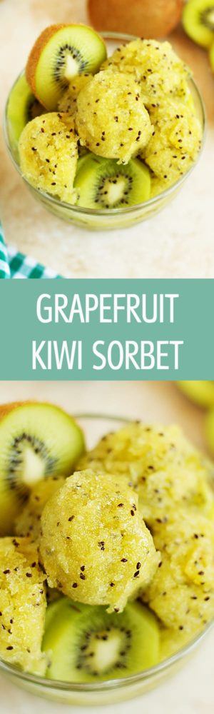 Grapefruit Kiwi Sorbet - Healthy and naturally sweeten grapefruit kiwi sorbet recipe is perfect for hot summer months. Refreshing, cooling and delicious kiwi sorbet by ilonaspassion.com I @ilonaspassion