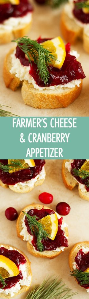 Easy farmer's cheese and cranberry appetizer is perfect for parties! Little crostini topped with cheese, cranberry jam and orange by ilonaspassion.com I @ilonaspassion