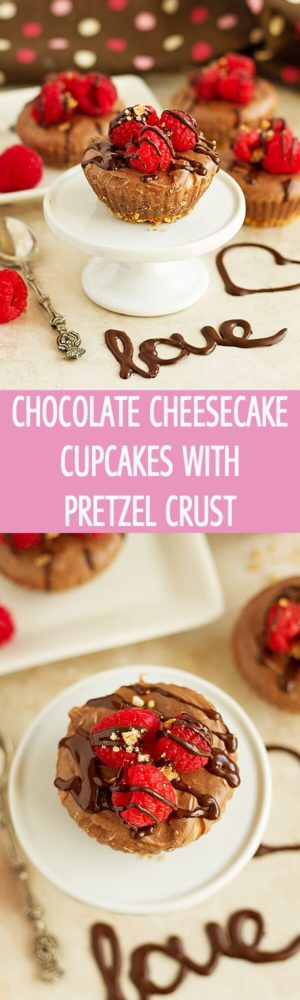 Delightful chocolate cheesecake cupcakes with pretzel crust served with raspberries. These cheesecake cupcake recipe is great for Valentine's Day by ilonaspassion.com I @ilonaspassion