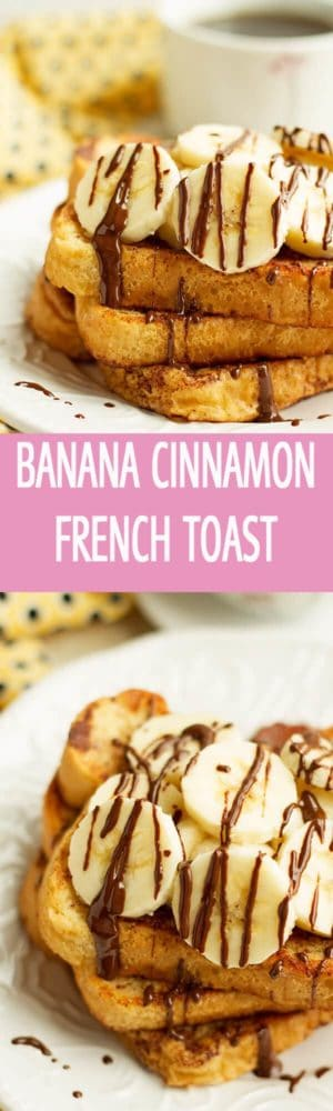The most easiest banana cinnamon french toast recipe is perfect for breakfast or brunch. 6 ingredients cinnamon french toast is drizzled with chocolate by ilonaspassion.com I @ilonaspassion