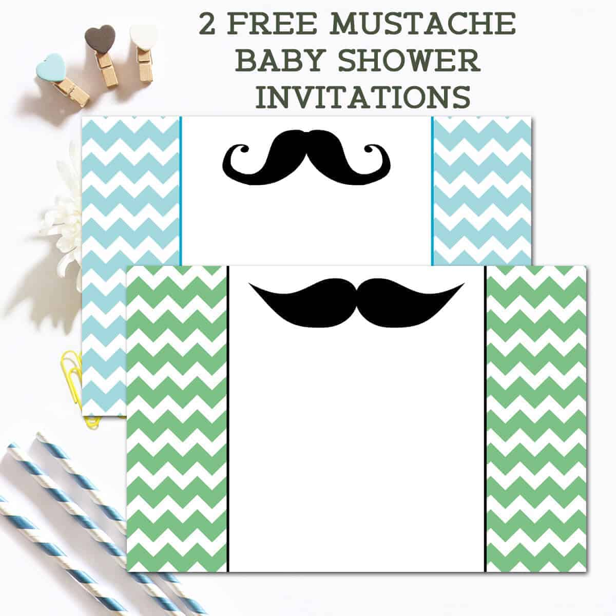 graphic relating to Free Printable Mustache Baby Shower Invitations called Absolutely free Mustache Child Shower Invites - Ilonas Pion