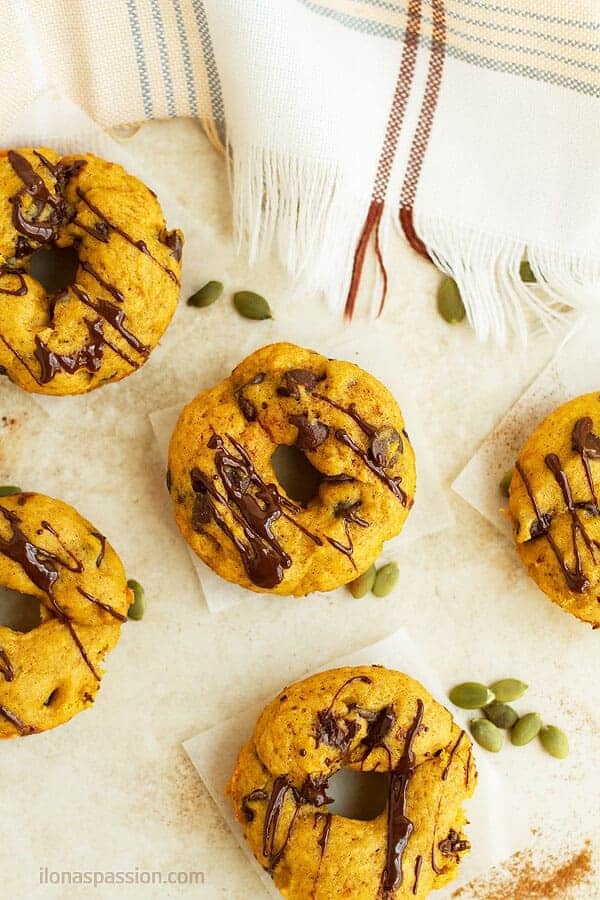 Baked and not fried mini donuts with pumpkin and chocolate.