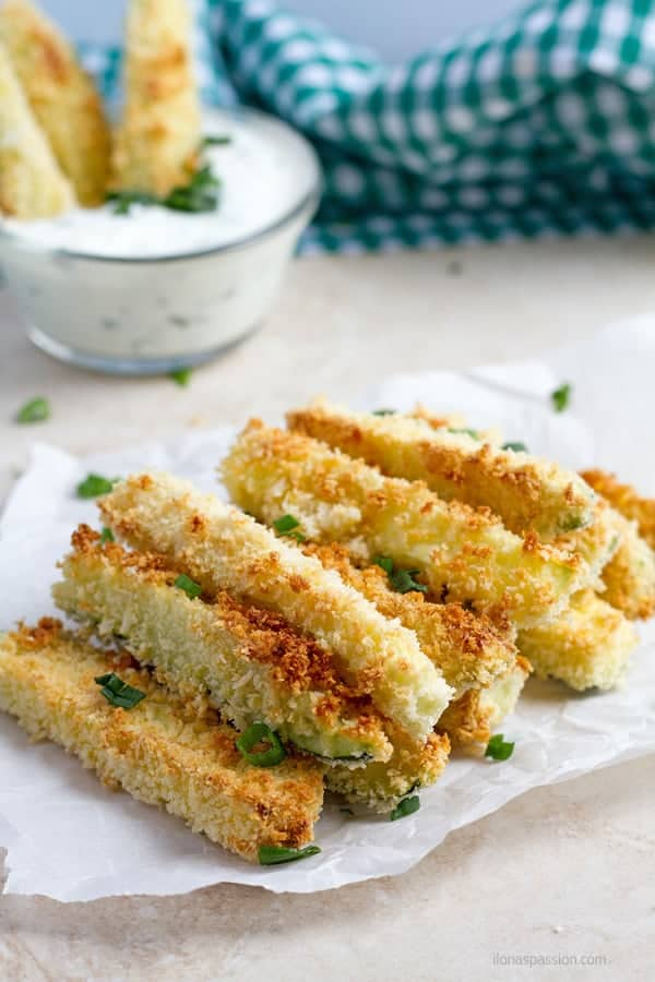 Crunchy zucchini fries in green onion and garlic dipping sauce.
