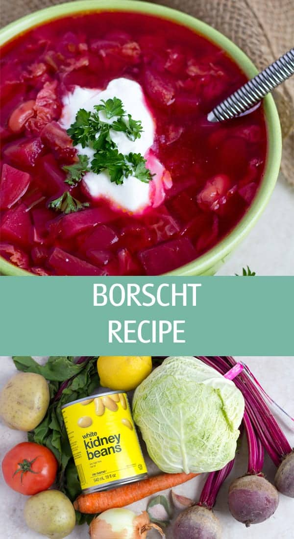 Borscht soup made with cabbage, beans, tomato and potatoes.