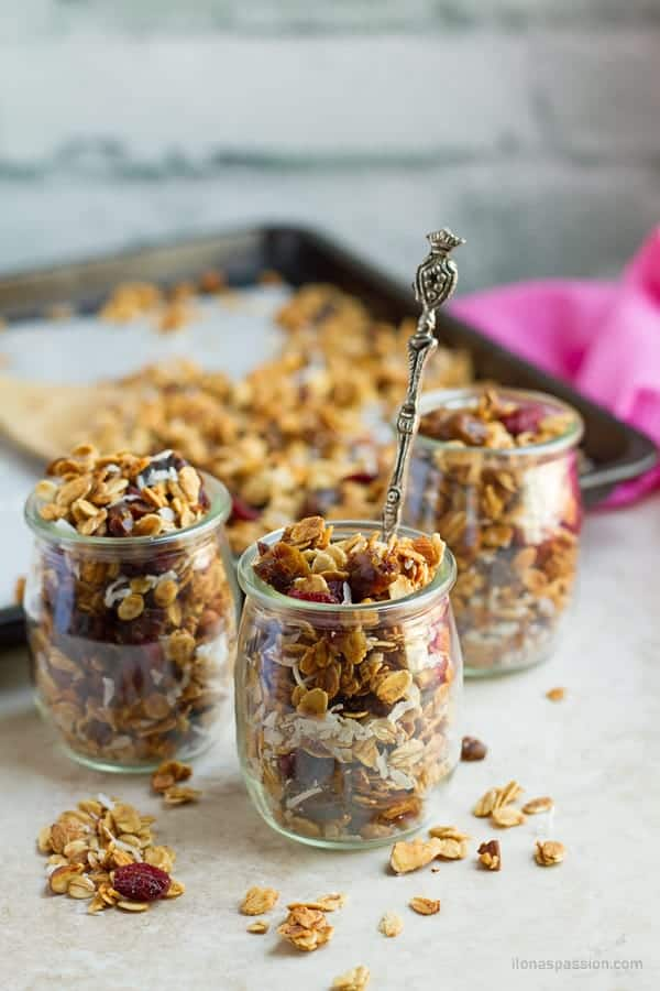 Healthy cereal granolas in a glass jar.