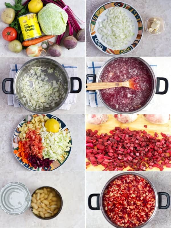 Step by step how to make borscht soup with vegetables.