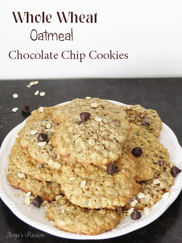 Whole Wheat Oatmeal Chocolate Chip Cookies by ilonaspassion.com