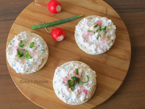 Farmers cheese with radishes and green onions