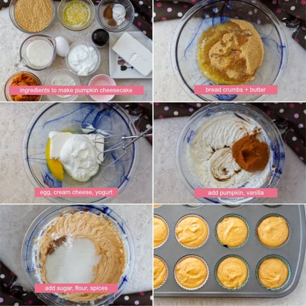 Step by step on how to make mini pumpkin cheesecake bites recipe by combining all ingredients butter, pumpkin, cream cheese, yogurt by ilonaspassion.com I @ilonaspassion