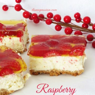 The Best Raspberry Homemade Cheesecake Bars by ilonaspassion.com