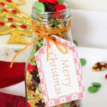 Easy Snack Recipe: Trail Mix + Free Printable Christmas Tags by ilonaspassion.com