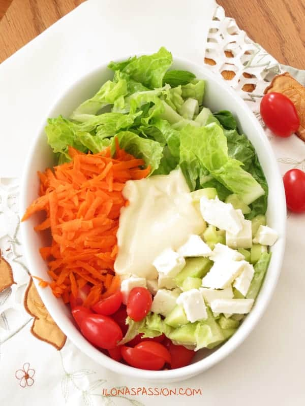Healthy Feta Carrot Salad with Homemade Honey Mustard Dressing by ilonaspassion.com