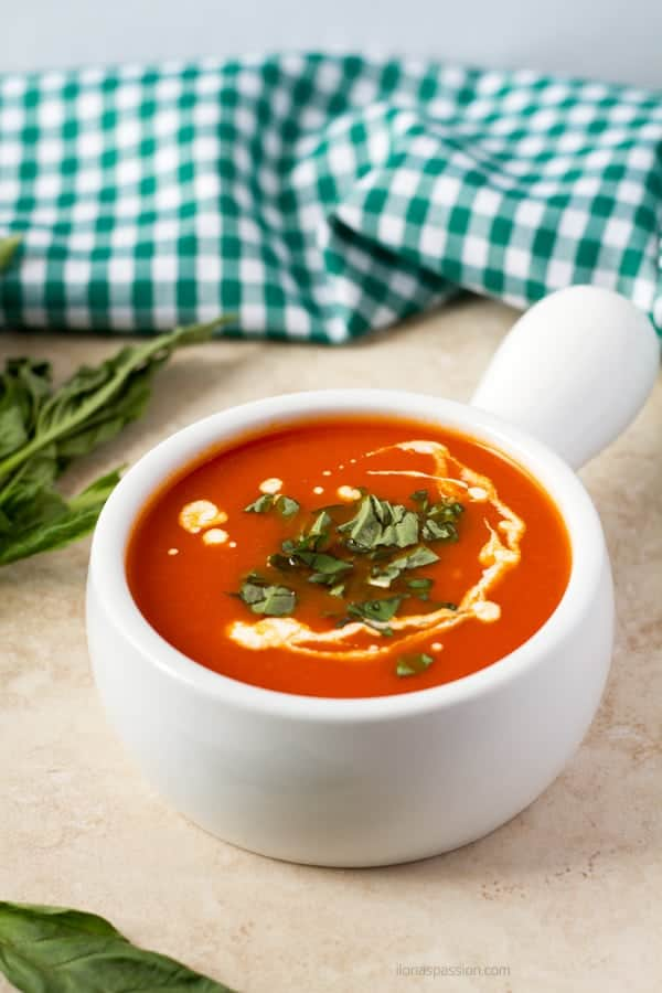 Perfect for lunch soup made with carrots, tomato, and parsnip.