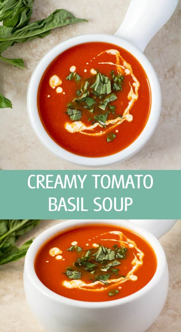 Creamy tomatoes soups with whipping cream and fresh basil leaves.