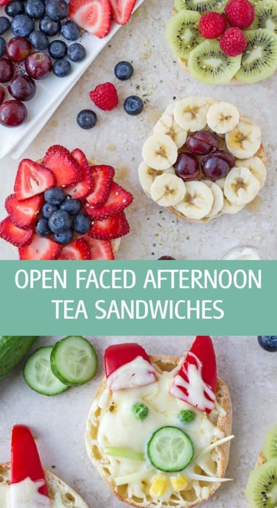 Simple open faced afternoon tea sandwiches for kids and adults made with english muffin and fruits by ilonaspassion.com I @ilonaspassion