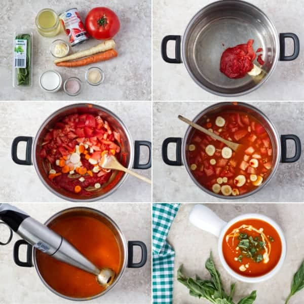 Step by step how to make tomato basil soup.
