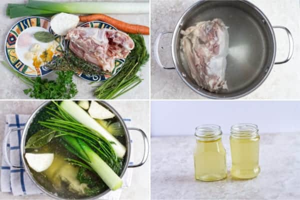 Step by step how to make chicken stock with vegetables and bones.