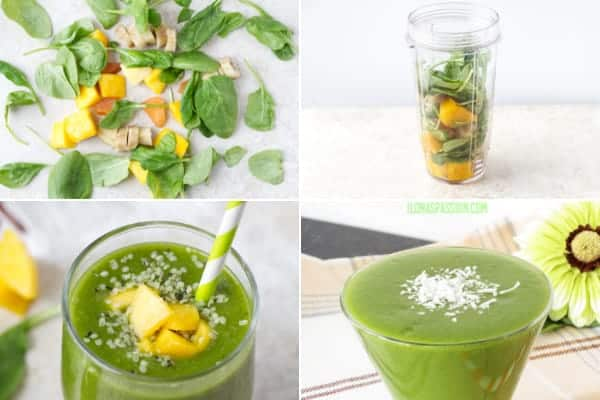 Step by step on how to make spinach green smoothie with banana and mango. Great leafy drink by ilonaspassion.com I @ilonaspassion