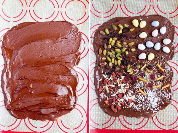 Step by step how to make dark chocolate with fruits, pistachios, sprinkles and candies.