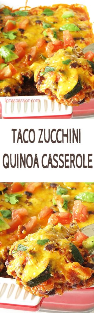 Taco Zucchini Quinoa Casserole - Delicious, healthy and vegetarian taco quinoa casserole made with zucchini, cilantro and black beans. The best quinoa casserole made quickly in one bowl by ilonaspassion.com I @ilonaspassion