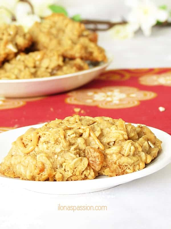 The BEST Peanut butter oatmeal cookies made with apples and cinnamon by ilonaspassion.com