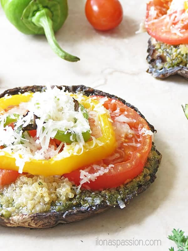 Pesto Quinoa Portobello Pizza