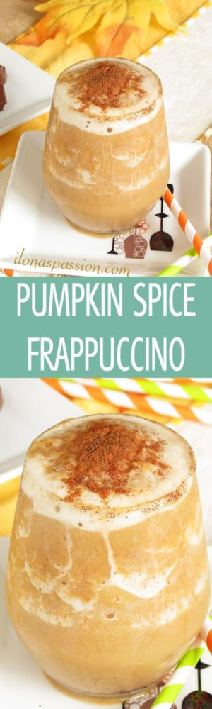 Pumpkin Spice Frappuccino - easy to make autumn pumpkin frappuccino recipe with cinnamon. Healthy, vegan, skinny and delicious! by ilonaspassion.com I @ilonaspassion