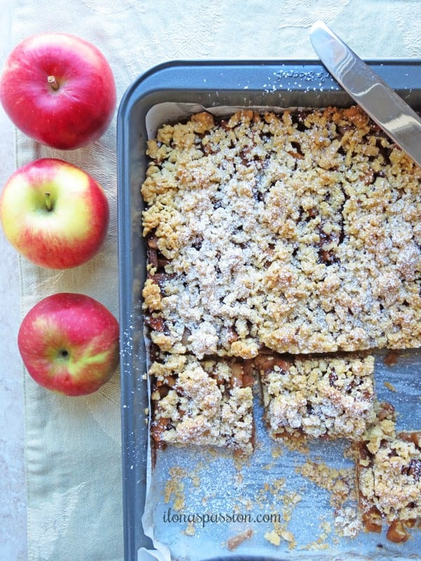 Cinnamon Caramel Apple Bars by ilonaspassion #applebars #caramelbars #bars