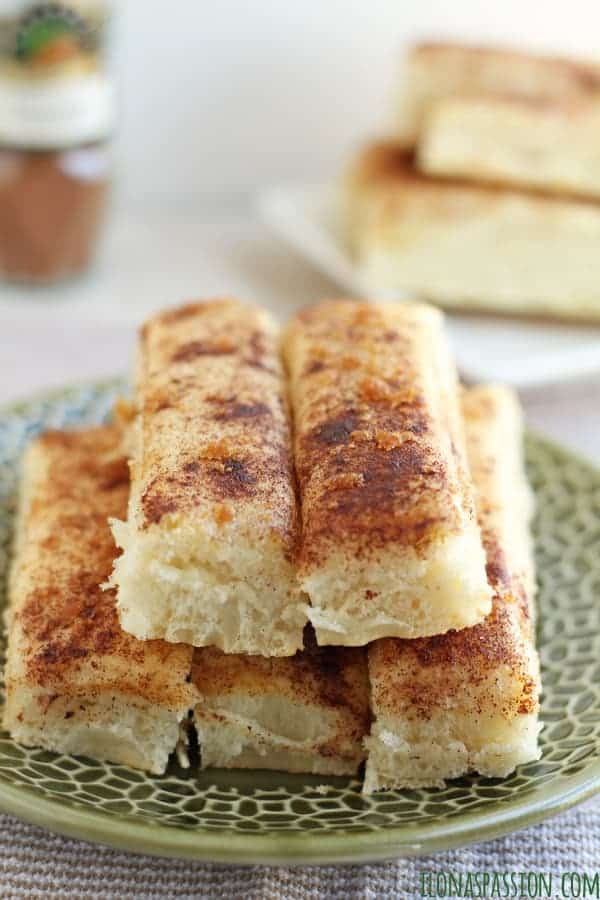 Homemade butter breadsticks cut into strips, sprinkled with brown sugar by ilonaspassion.com I @ilonaspassion