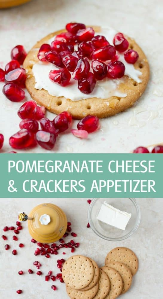 Crackers with cream cheese and pomegranate arils recipe are one of the easiest appetizer idea for parties! by ilonaspassion.com I @ilonaspassion