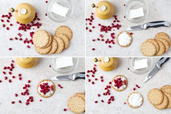 Step by step on how to make easy appetizer with pomegranate, cream cheese and crackers ilonaspassion.com I @ilonaspassion