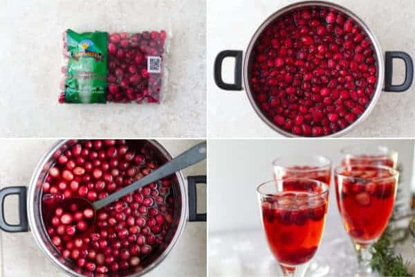 Step by step photos on how to make homemade sugar free cranberry juice.