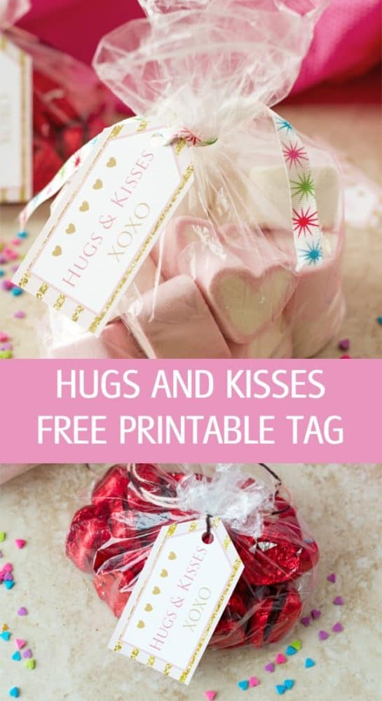 DIY XOXO Hugs and Kisses free printable tag in color pink and gold great for Valentine's Day. Print, cut and attach to gift by ilonaspassion.com I @ilonaspassion