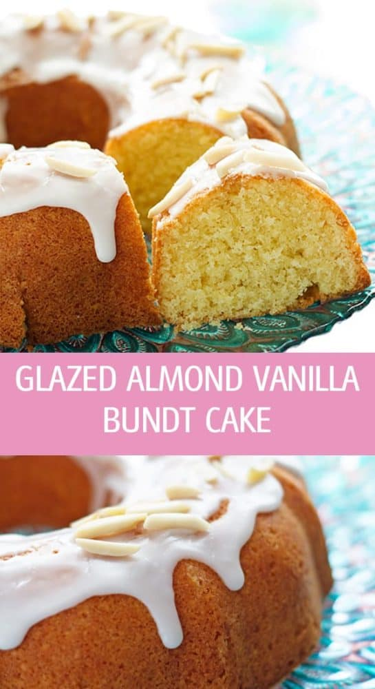 Moist and cakey glazed almond vanilla bundt cake recipe made with almond flour and drizzled with lemon icing. Very easy to make and perfect for Easter or any other holiday! by ilonaspassion.com I @ilonaspassion