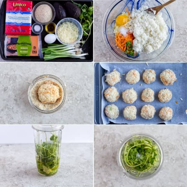 Step by step how to make arancini italian appetizer with avocado dip.
