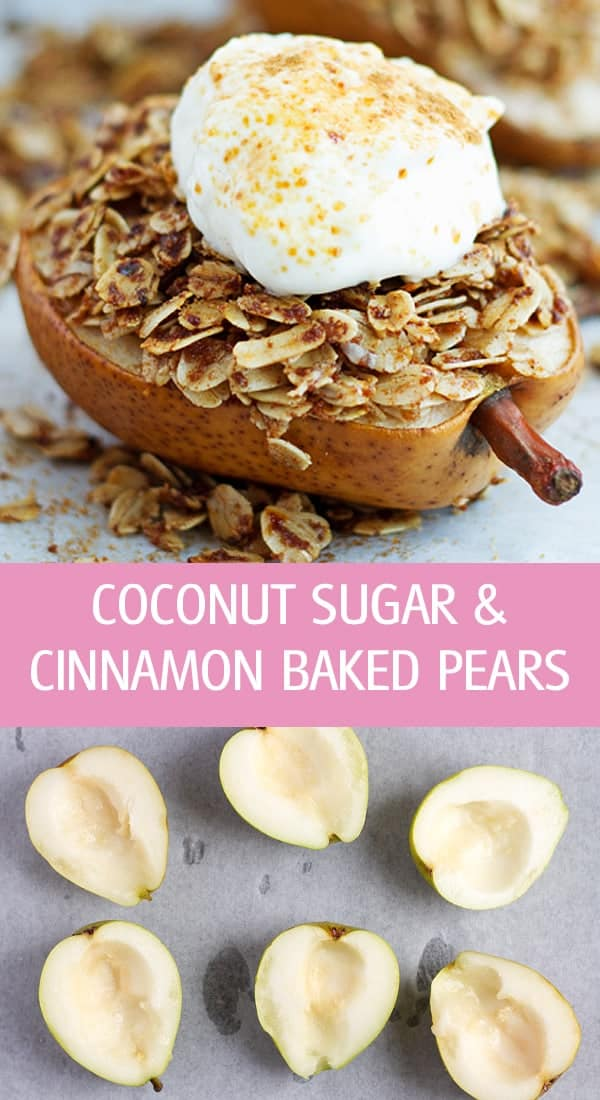 Cooked pear topped with oats, cinnamon and sugar with a dollop of yogurt. How to core the pear.