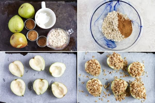 Step by step how to make baked pears with granola.