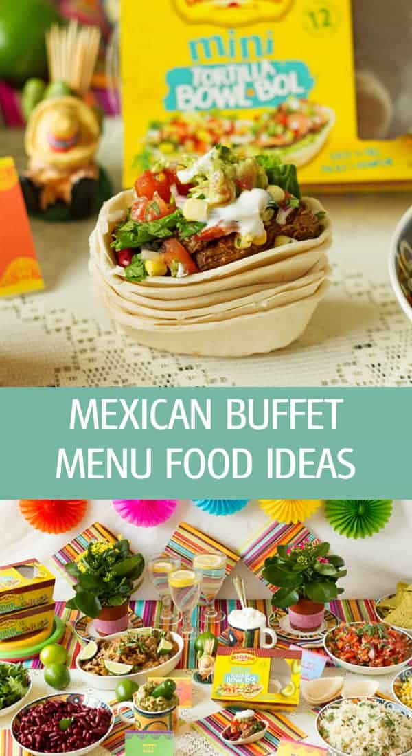 Burrito bowl with all delicious meat, rice and Mexican buffet ideas for toppings, a party menu and table set up.