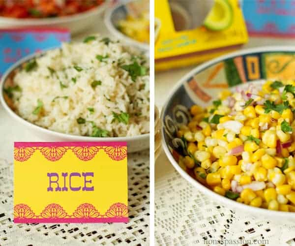 Cilantro lime rice with party label and corn salsa.