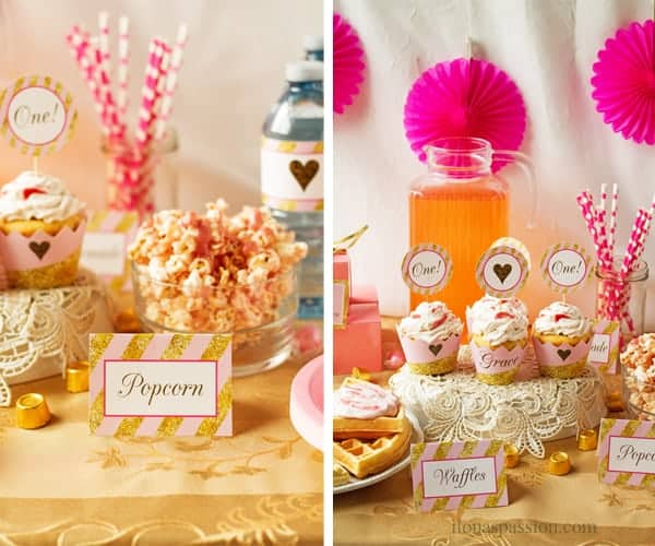 Pink and gold party decorations and ideas for a birthday including recipes, printables and table setup. Great for princess or 1st birthday party! by ilonaspassion.com I @ilonaspassion